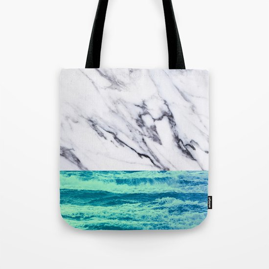 Marble Ocean iPhone Case and Throw Pillow Design Tote Bag