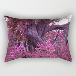 Pink red alien planet tree bright Rectangular Pillow