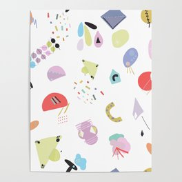 Geometric Shapes and Pastel Colored Trendy Pattern Poster