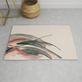 Slow Burn: a pretty, minimal, abstract mixed media piece using watercolor and ink Rug