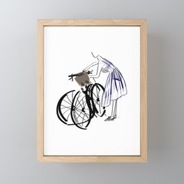 Street Style Bicycle Fashion Girl Framed Mini Art Print