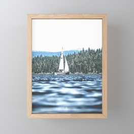 Calm Lake Sailboat Framed Mini Art Print
