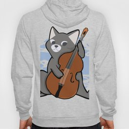 Upright Bass Playing Cool Jazz Cat T-Shit For Bopping Musos Hoody