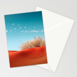 Red Desert Sand With Dusty Bush and Blue Sky Stationery Cards