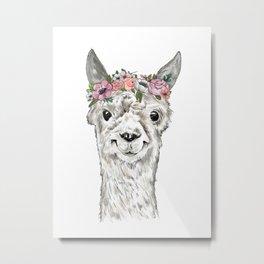 Lovely Llama, Llama Art, Llama Illustration, Boho Llama, Bohemian, Floral Crown, Hand Drawn Metal Print