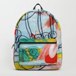 'Love Flight of a Pink Candy Heart' landscape painting by Florine Stettheimer Backpack