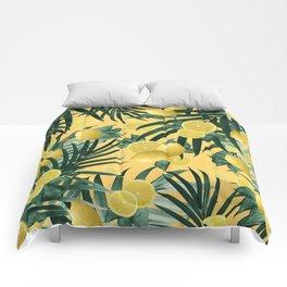 Summer Lemon Twist Jungle #3 #tropical #decor #art #society6 Comforters