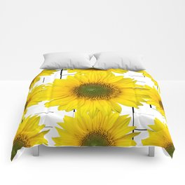 Sunflowers on a squar pattern white background #decor #society6 Comforters
