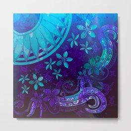 Polynesian Tribal Watercolor Surfacing Splash Metal Print