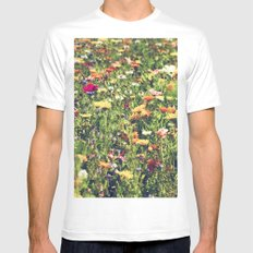 Happy summer meadow vintage style White MEDIUM Mens Fitted Tee