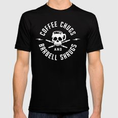 Coffee Chugs And Barbell Shrugs MEDIUM Black Mens Fitted Tee