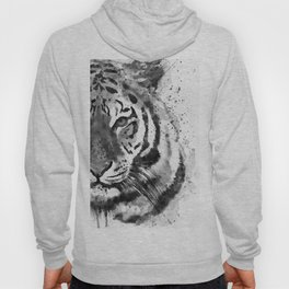Black And White Half Faced Tiger Hoody