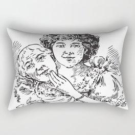 TWO FACED WOMAN Abstract Art Rectangular Pillow