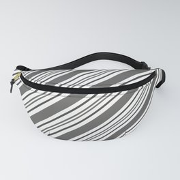 Pantone Pewter and White Thick and Thin Angled Lines - Diagonal Stripes Fanny Pack