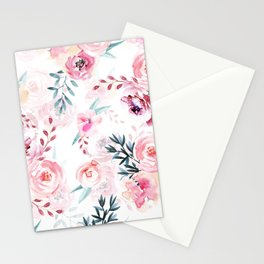 Pink Watercolor Florals I Stationery Cards