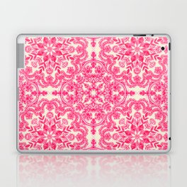 Hot Pink & Soft Cream Folk Art Pattern Laptop & iPad Skin