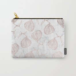 Modern girly rose gold hand drawn floral white marble pattern Carry-All Pouch