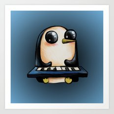 Penguin With Keyboard Art Print