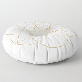Modern Minimalist Sacred Geometry Symbol, Geometric Flower of Life in Gold and White Abstract Luxury Floor Pillow