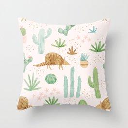 Armadillos in the Desert - Watercolor Throw Pillow