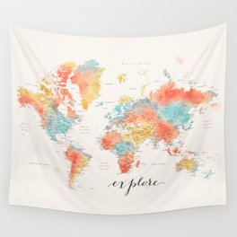 """Explore"" - Colorful watercolor world map with cities Wall Tapestry"