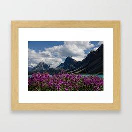 Purple Flowers on Bow Lake Framed Art Print