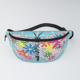 Butterfly Daisies Pearl Drop Pattern Turquoise Fanny Pack
