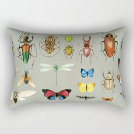 The Usual Suspects - Insects on grey Rectangular Pillow