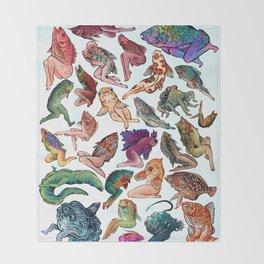Reverse Mermaids Throw Blanket