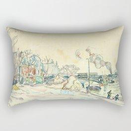"""Paul Signac """"Paris, le Pont des Arts"""" Rectangular Pillow"""