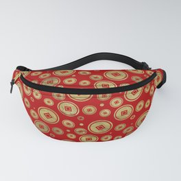 Chinese Coin Pattern Gold on Red Fanny Pack