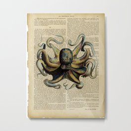 Book Art Octopus Color Metal Print