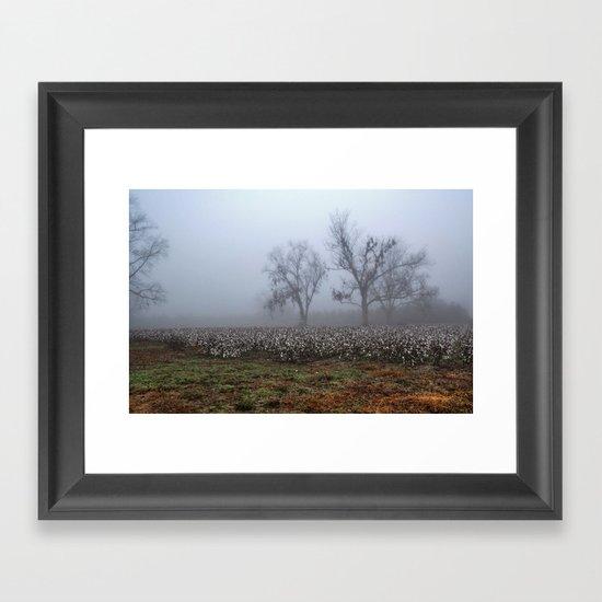 Foggy Cotton Field Framed Art Print