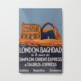 London-Baghdad Vintage Travel Poster Metal Print