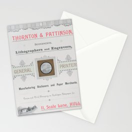 Trade Card for Thorton & Pattinson, Bookbinders, Lithographers and Engravers,19th century Stationery Cards