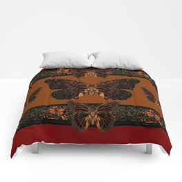 BLACK  MONARCH BUTTERFLIES,COFFEE BROWN-BURGUNDY ART Comforters
