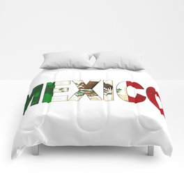 Mexico Font with Mexican Flag Comforters