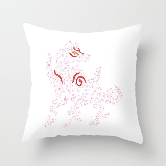Okami Amaterasu - Cherry Blossom Form [WHITE] Throw Pillow