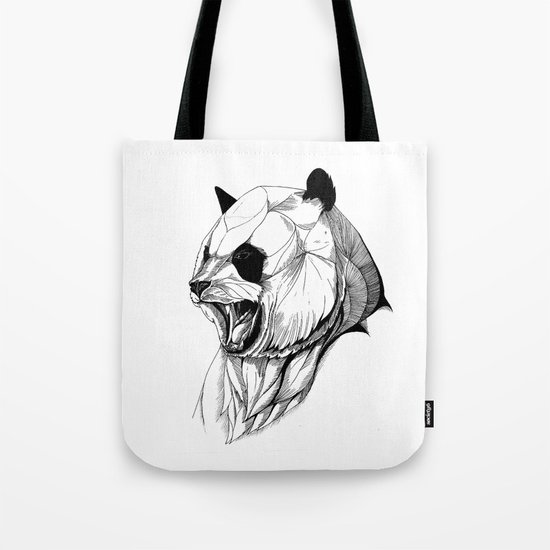 Angry panda (black stroke version for t-shirts) Tote Bag