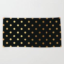 Gold polka dots on black pattern Beach Towel