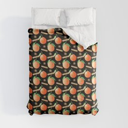 Tangerines, Cinnamon and Star Anise Watercolor Illustration and Pattern on Black Comforters