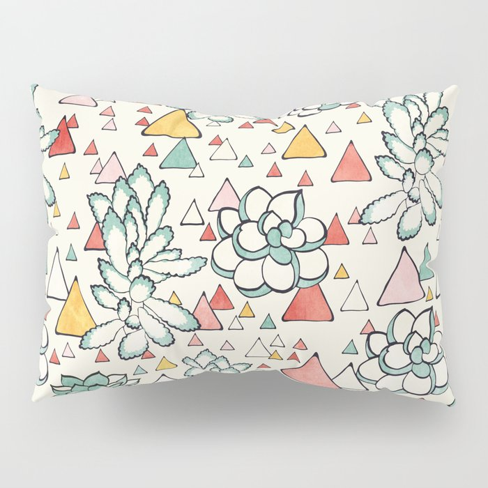 Succulent and triangles seamless pattern Pillow Sham