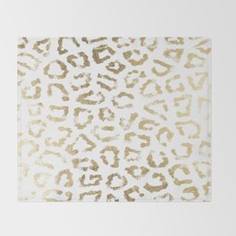 Modern white chic faux gold foil leopard print Throw Blanket
