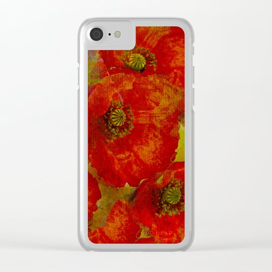 Poppies(red&orange). Clear iPhone Case