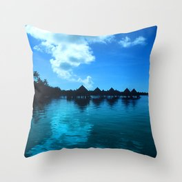 Mindfulness Cloud Reflections in Secret Tahiti Cove Throw Pillow