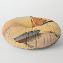 Thames Barge At Sunset Floor Pillow