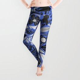 Silver Blue Floral Leaves Illustration Pattern Leggings