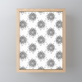 Passionflower Black and White Flower Illustrated Print Framed Mini Art Print