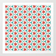 Retro Red Stars Pattern Art Print