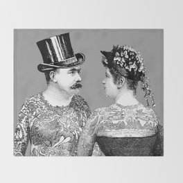Tattooed Victorian Lovers Throw Blanket
